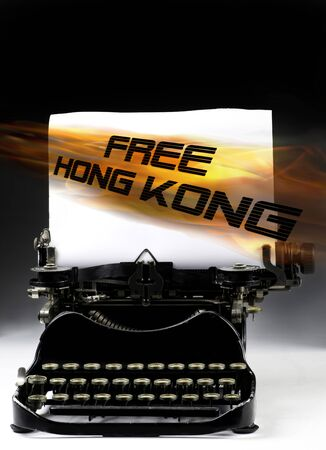 Free Hong Kong pro-independence movement with antique typewritter.