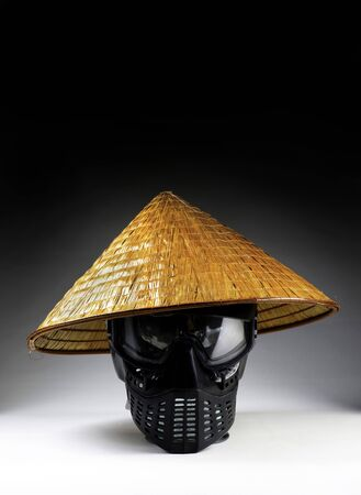 Asian bamboo hat with room for your type or text. Imagens
