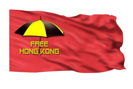 Free Hong Kong pro-independence movement with flag. Imagens