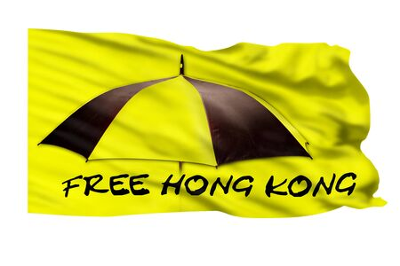 Free Hong Kong pro-independence movement with flag. Stock Photo