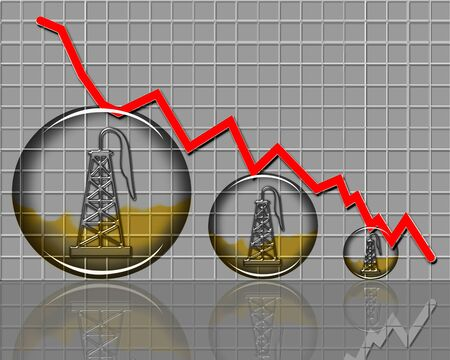 Barrel of oil prices dropping in crisis chart.