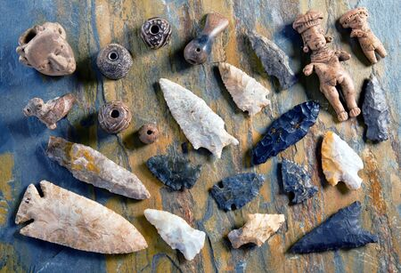 Real American arrowheads and Indian artifacts. Stockfoto