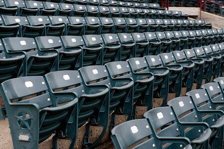 Empty sports stadium seats due to the COVID 19 Virus.