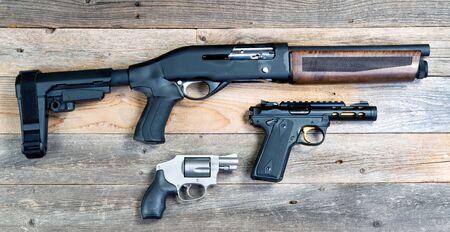 Home security shotgun,revolver and semi automatic pistol.