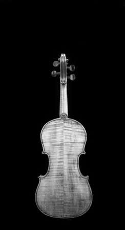 Back side of old violin in black and white with room for your type..