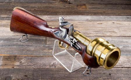 Flintlock hand mortar/ grenade launcher with massive 2.5 inch brass barrel.