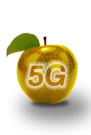 5 G Communication with golden Apple. Stock fotó