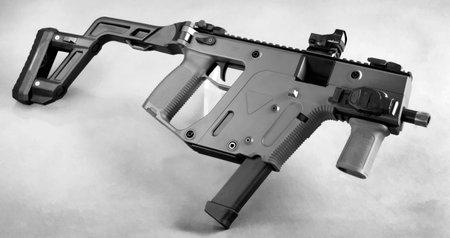 Modern 9mm foldable brief case auto gun . Stock Photo