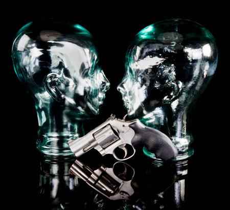 357 magnum revoler with glass cyborg heads.