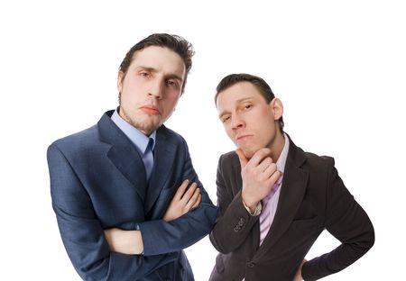 twee businessmans geïsoleerd op wit
