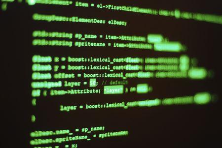 """Foto de la pantalla del ordenador con c�digo de programa se muestra en color hacker cl�sicos. Poca profundidad de la palabra de los lugares de campo """"l�xico"""" In Focus"""
