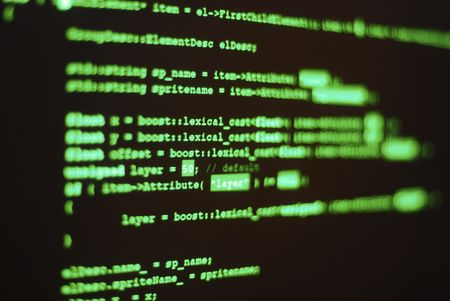 of computer screen with program code displayed in classic hacker color. Shallow depth of field places word lexical in focus