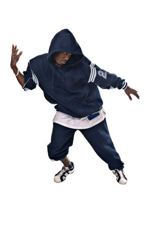 Hip-hop dancer making one of his fancy moves photo