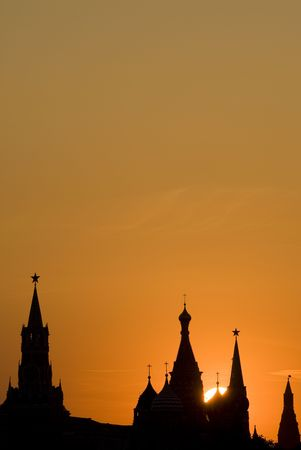 View of Red Square with silhouettes of Kremlin in Moscow, Russia. photo