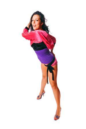 Beautiful ragga dancer isolated on white background photo