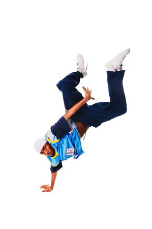 aerobica: Hip-hop young man making cool move on white background