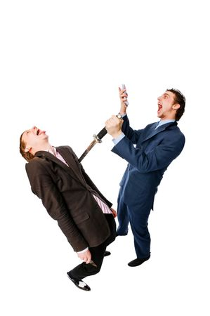 robbing: two businessmen robbing one another isolated on whit