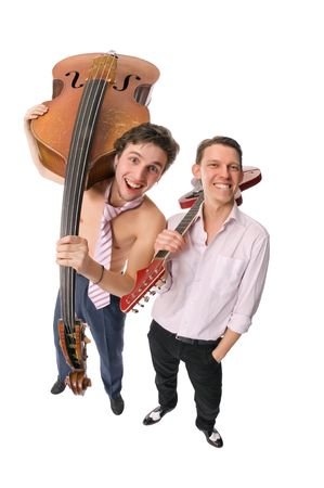 two cheerful musicians isolated on white background photo
