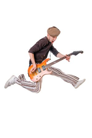 Cool young musician  with guitar isolated on white background photo