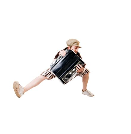concertina: Cool young musician with concertina isolated on white background