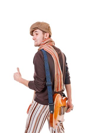 Cool musician isolated on white background photo