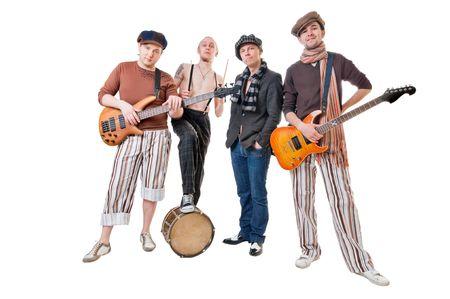 Cool muziek band geïsoleerd op witte achtergrond Stockfoto