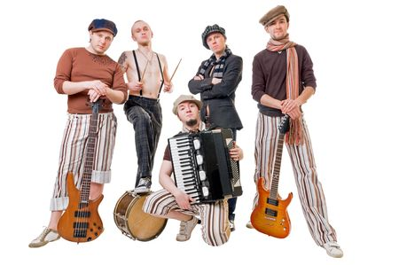 cool musical band isolated on white background photo