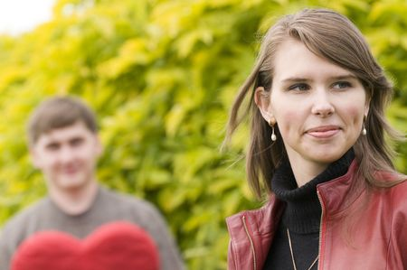 Young couple wearing casual clothes in the park Stock Photo - 5714825