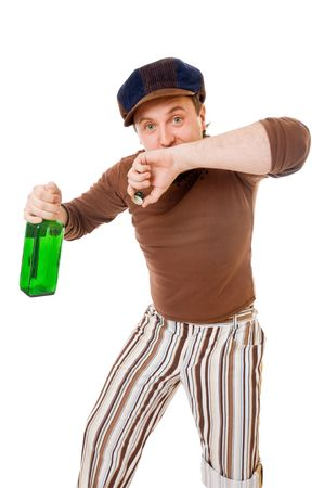 drunkard: Young man with a green bottle isolated on white