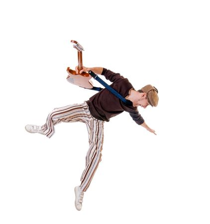 Cool jumping guitarist isolated on white background photo