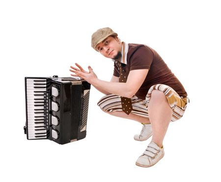 concertina: Cool musician with concertina isolated on white background