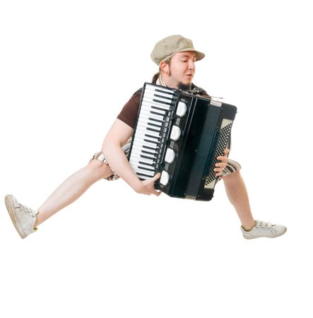 concertina: Excited musician with concertina isolated on white