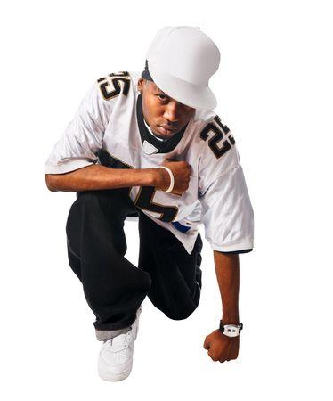 Cool, hip-hop jonge man op wit wordt geïsoleerd  Stockfoto