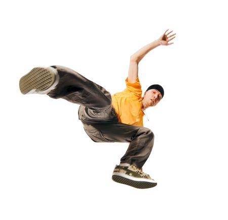 Cool jonge breakdancer geïsoleerd op witte achtergrond Stockfoto