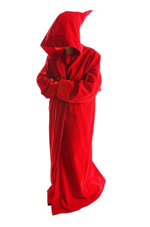Person wearing spooky red cape on white background