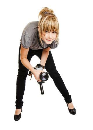 Hermosa joven fot�grafo o vide�grafo sobre fondo liso Foto de archivo
