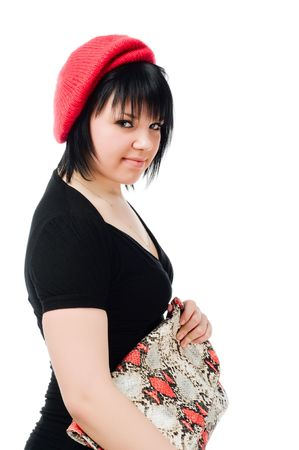 reticule: Young caucasian woman with handbag isolated on white background Stock Photo
