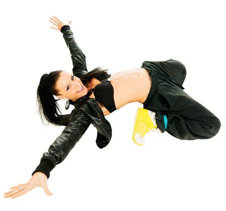 Cool actieve hip-hop danseres op witte achtergrond Stockfoto