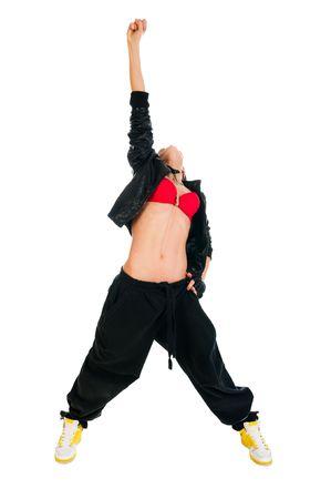 Cool aktiver weibliche Hip-hop Tänzer auf weißem Hintergrund