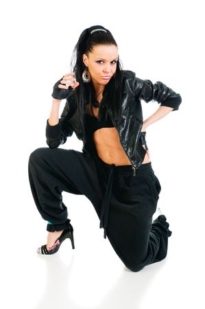 Cool active female hip-hop dancer on white background photo