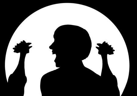 Silhouettes of woman screaming at two roosters photo