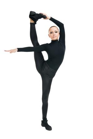 Beautiful modern dancer showcasing her agility on white photo