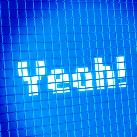 subdivided: Pixel mesh lcd screen with Yeah