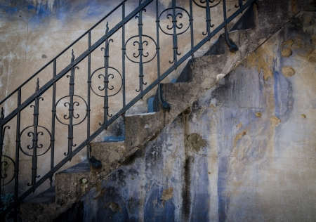 parapet wall: Textured wall with stairs Stock Photo