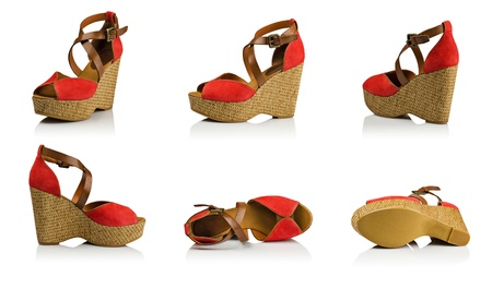 Red suede woman shoes composition Stock Photo - 14930280