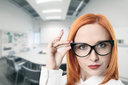 Business woman in conference room Stock Photo