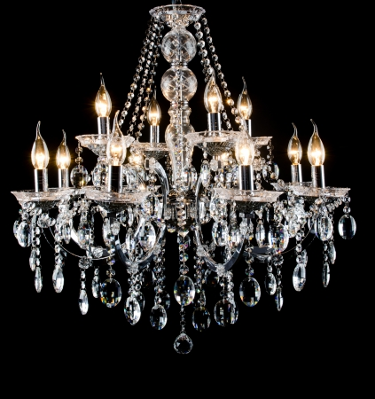 shiny black: Contemporary glass chandelier