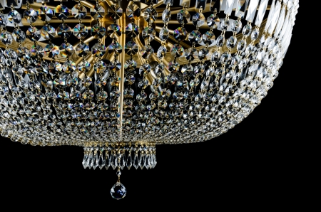 Closeup Contemporary glass chandelier Stock Photo