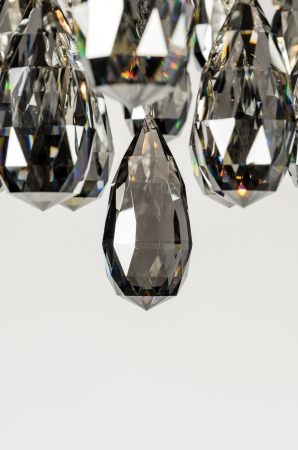 Contemporary glass chandelier crystals closeup