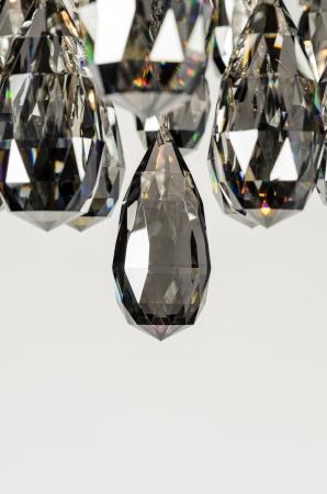 Contemporary glass chandelier crystals closeup